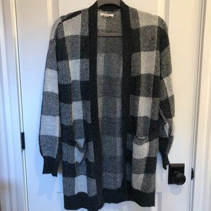 Grey Plaid Open-Front Cardigan